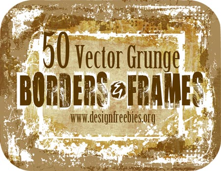 50 Free Vector Grunge Borders and Frames 98MB