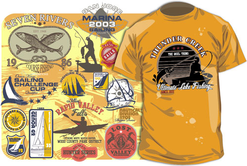 Free Vector T-shirt Designs: Outdoor Recreations – Fishing, Sailing ...