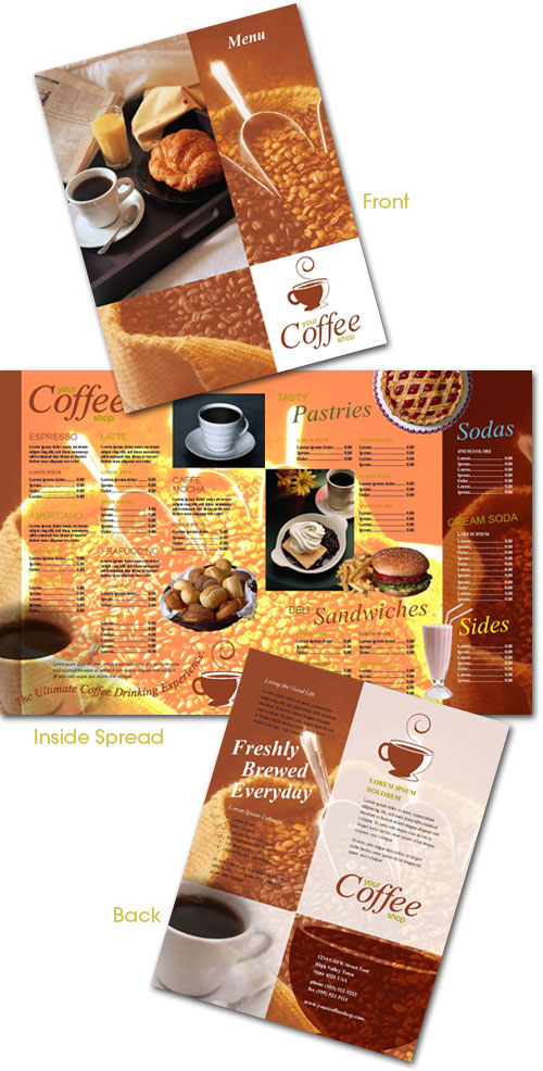 free indesign templates  brochure and menu