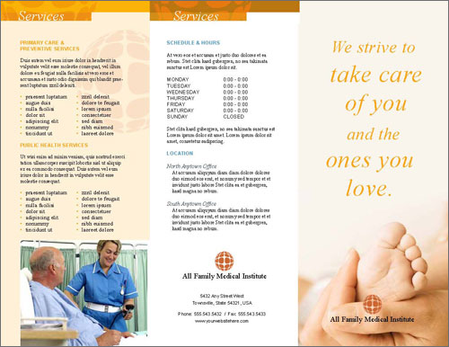 Free indesign templates brochure and menu designfreebies for Medical office brochure templates