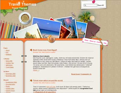 Left sidebar and pretty cool navigation. travelling-logbook-free-wordpress-