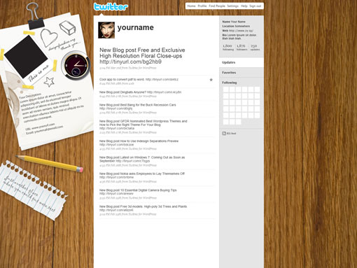 Twitter Wood Background Design