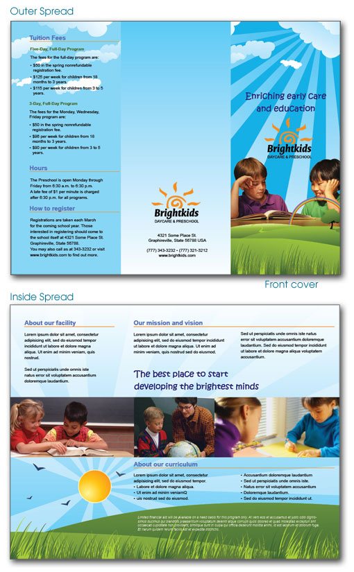 Free indesign templates daycare preschool and health for Preschool brochure template