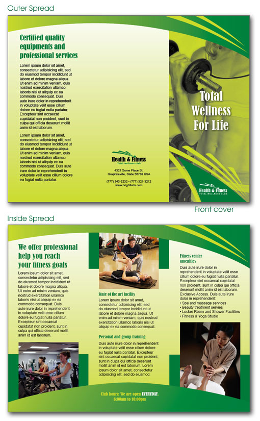 Free indesign templates daycare preschool and health for Fitness brochure template