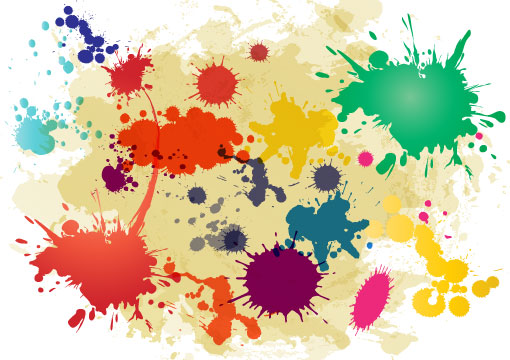 Color Splatter Vector Vector-ink-paint-splatters
