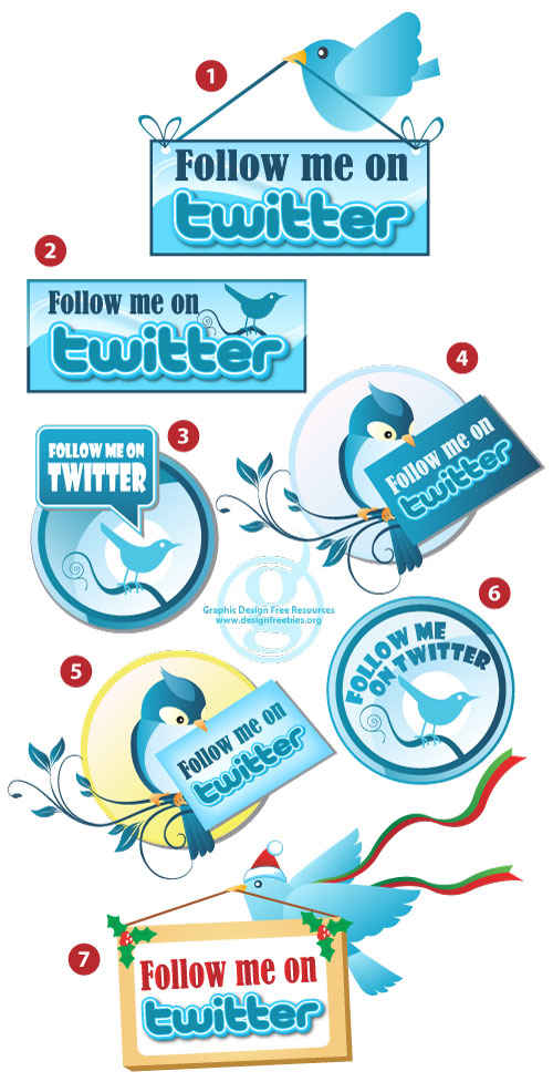 "Free Vector Twitter ""Follow Me"" Badges"