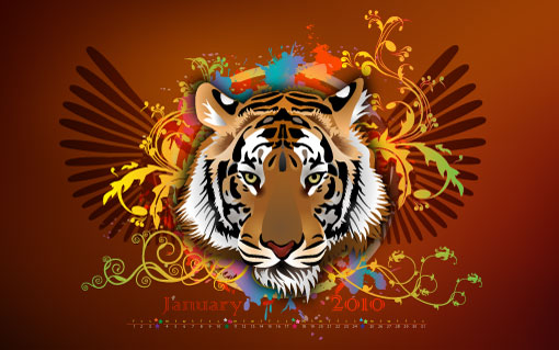 wallpapers for january. January 2010 Calendar Desktop Wallpapers – Fiery 2010 Tiger – 5.43MB