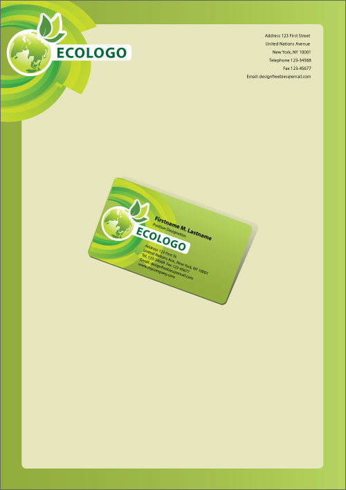 Free Illustrator Templates: Green Eco-Friendly Business Cards And