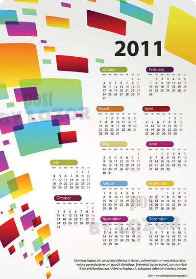 EPS Vector 2011 Calendar Template