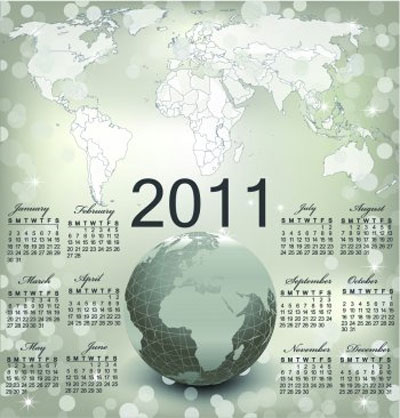2011 Vector Calendar Template with Globe and World Map Background