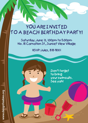 Beach party invitation template diabetesmangfo free exclusive kiddie beach party birthday vector invitation invitation templates stopboris Gallery