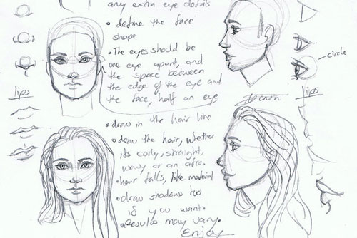 how to draw faces from reference
