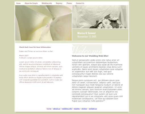 Free wedding website template design 12