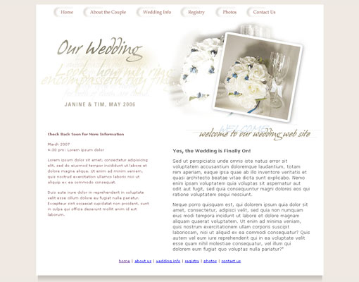 Free wedding website template design 13