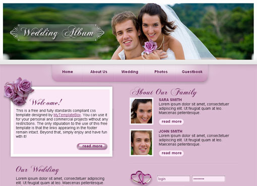 Free wedding website template design 3