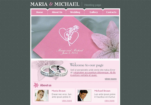 Free wedding website template design 5