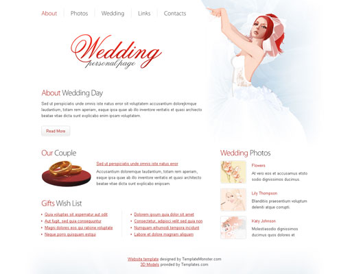 Free wedding website template design 6