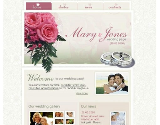 Free wedding website template design 9