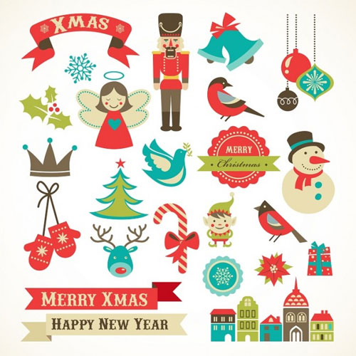 Retro Christmas and New year vector set