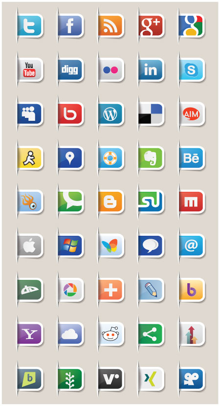 Free Paper Tabs Vector Social Media Icons