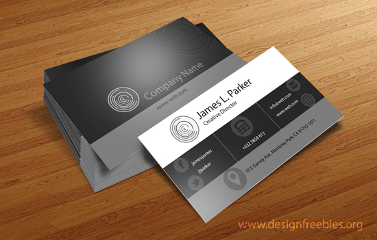 Free psd templates sleek black and white business cards free psd business card template 1 reheart Image collections