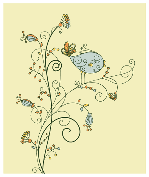 Free vector birds and flowers 1