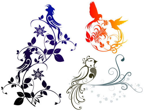 Free vector birds and flowers 10