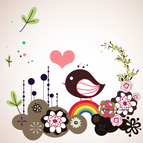 Free birds and flowers vector 6