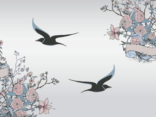 Free birds and flowers vector 7