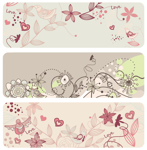 Free birds and flowers vector 8