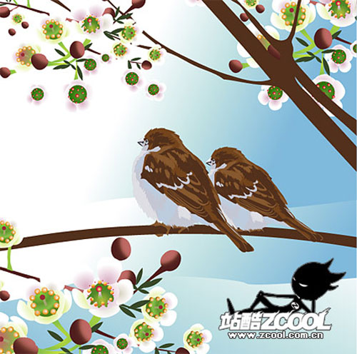 Free birds and flowers vector 9