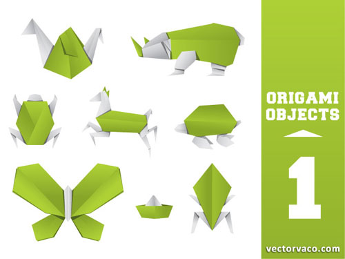 Free vector origami design element set 10
