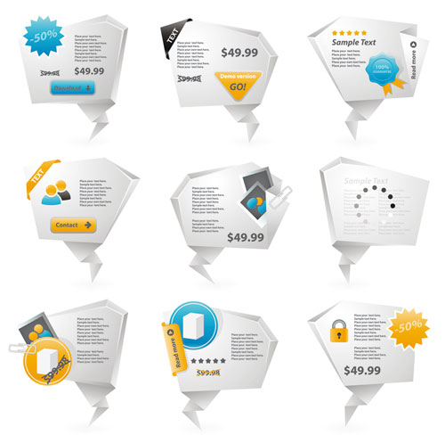 Free vector origami design element set 11