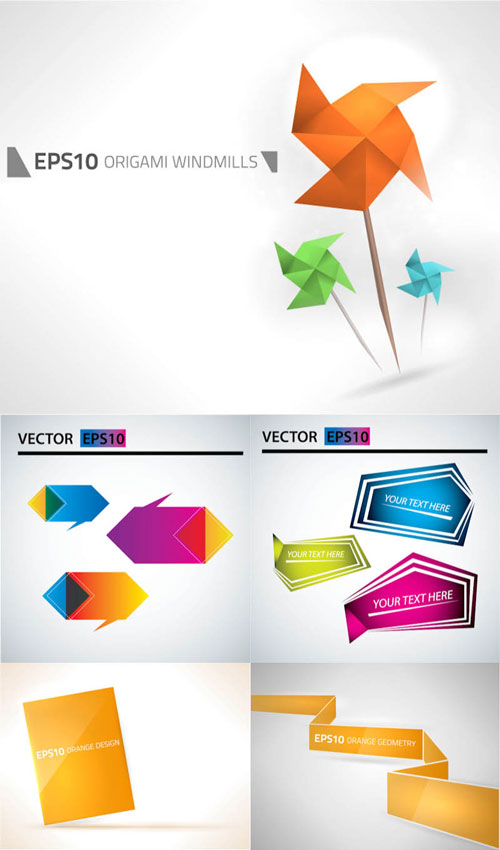 Free vector origami design element set 12