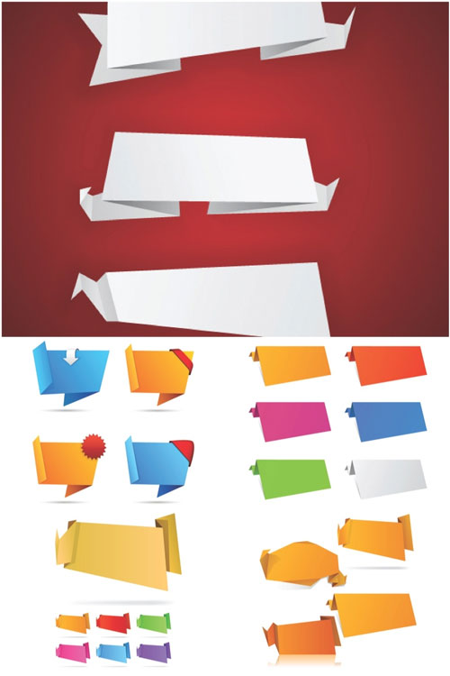 Free vector origami design element set 3