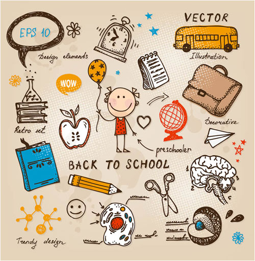 Free children back to school vector doodle set 4