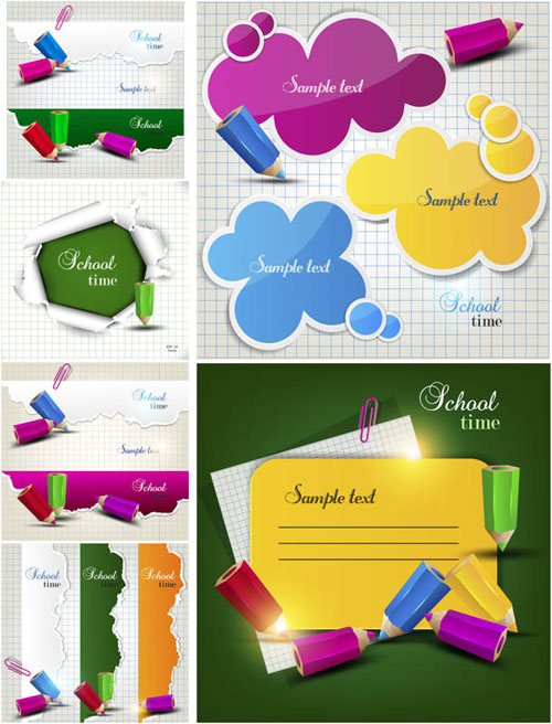 Free children back to school vector elements set 5