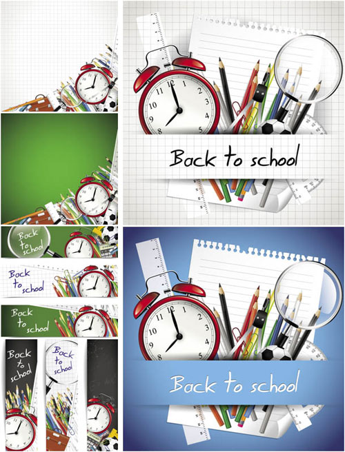 Free children back to school vector background set 6
