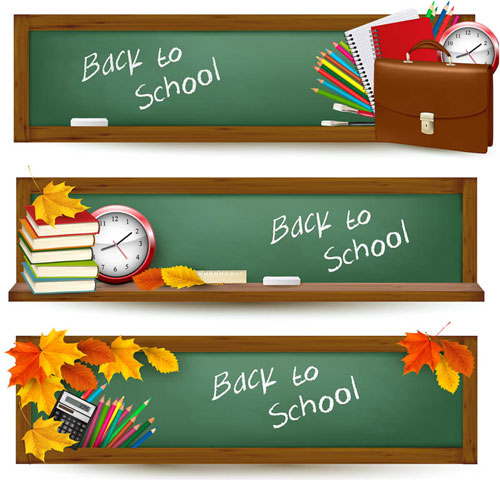 Free children back to school vector blackboard banner set 7