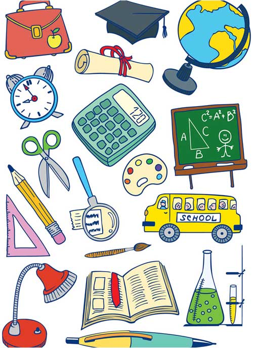 Free children back to school vector cartoon set 8