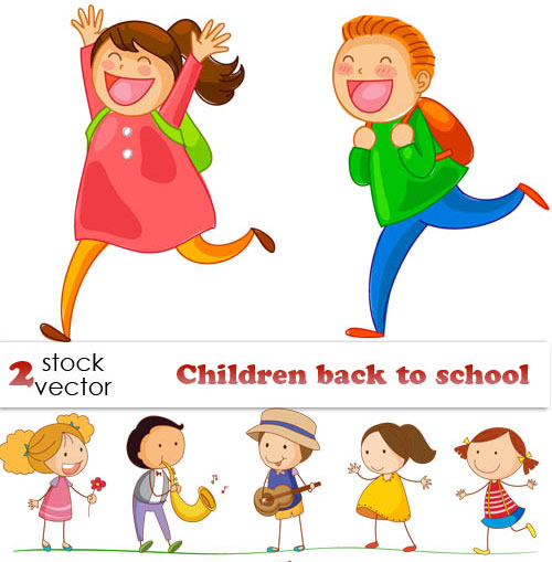 Free children back to school vector set 1