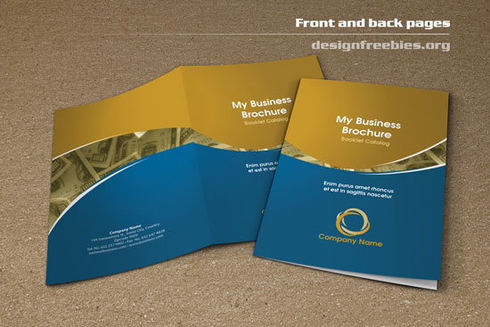 free bifold booklet flyer brochure indesign template 2 front