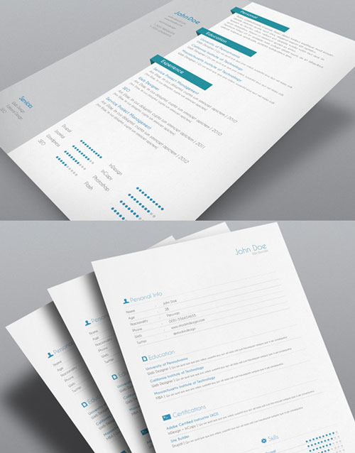 Extrem 8 Sets of Free InDesign CV/Resume Templates | Designfreebies NK23