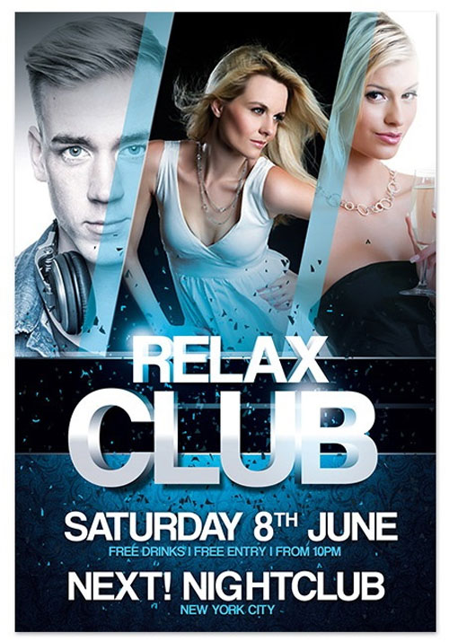 18 free photoshop psd club party poster and flyer for Free club flyer templates