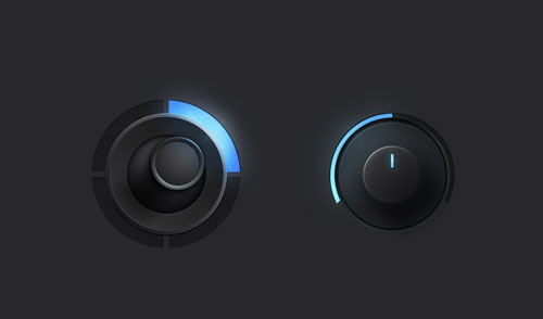Free volume knobs and dials PSD GUI templates 10
