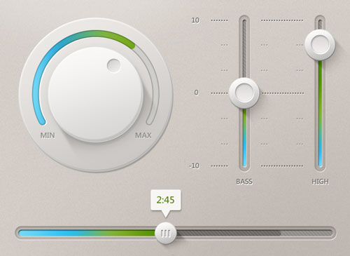 Free volume knobs and dials PSD GUI templates 6