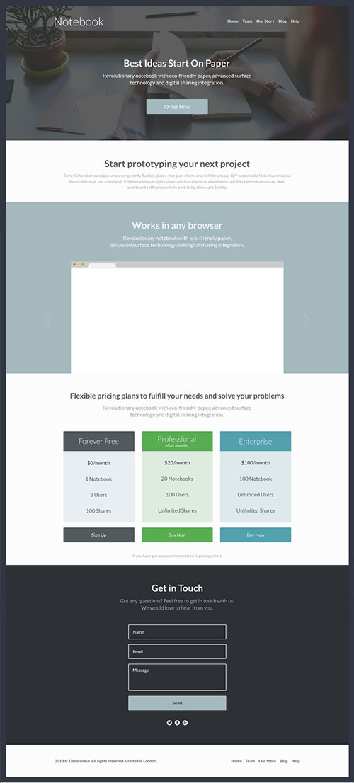 Free web landing page template 4