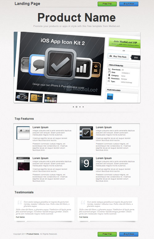 Free web landing page template 5