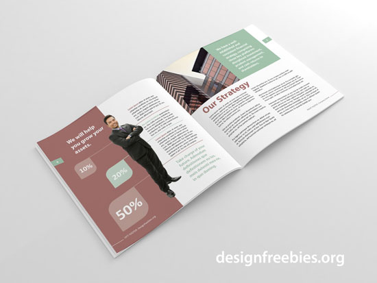 free square indesign brochure template spread 2