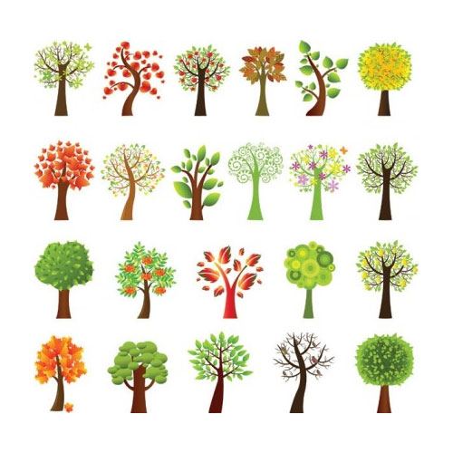 Free vector trees and leaves 1